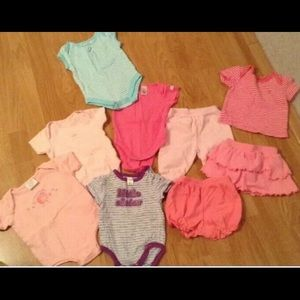 Lot of 9 infant Sz 0-3 name brand clothes